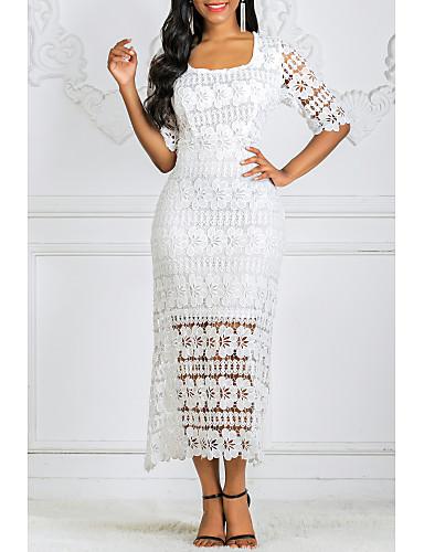 voordelige Maxi-jurken-Dames Kant Schede Jurk - Bloemen, Print Vierkante hals Maxi