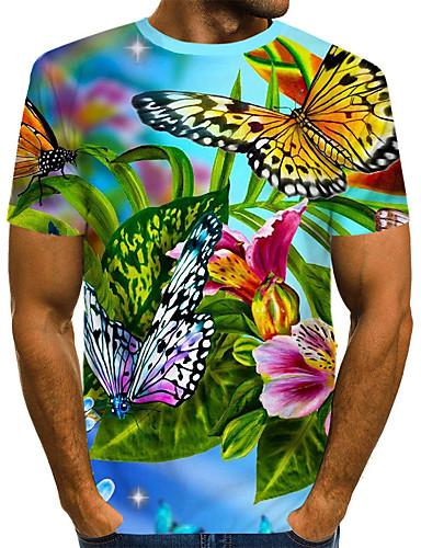 voordelige Heren T-shirts & tanktops-Heren Street chic / overdreven Print T-shirt Bloemen / 3D / dier Regenboog