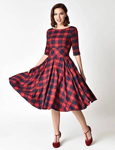 hesapli Vintage Kraliçesi-Kadın's Çan Elbise - Ekose Midi