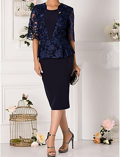 voordelige Wrap Dresses-A-lijn / Tweedelig Met sieraad Tot de knie Polyester / Kant Bruidsmoederjurken met Appliqués door LAN TING Express