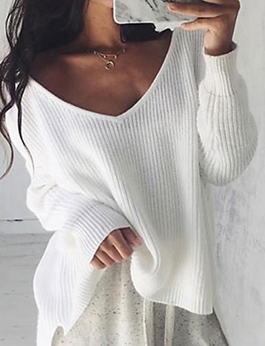 povoljno Ženske majice-Žene Jednobojni Dugih rukava Pullover, V izrez Crn / Obala S / M / L