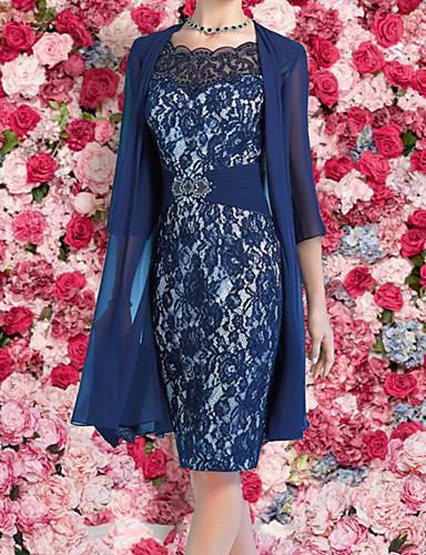 abordables Robes Femme-Femme Elégant Mi-long Mince Deux Pièces Robe - Dentelle, Fleur Bleu Marine M L XL Dentelle Demi Manches