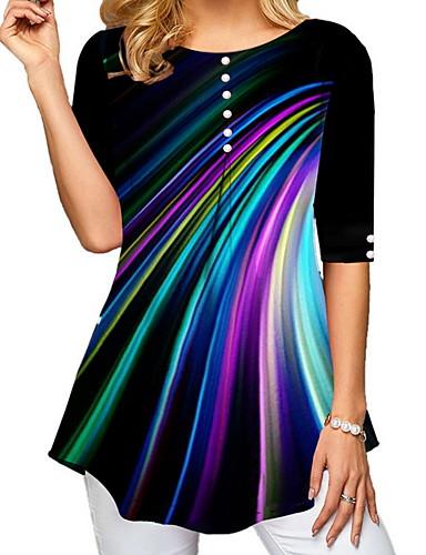 billige Topper til damer-T-skjorte Dame - Regnbue, Trykt mønster Svart