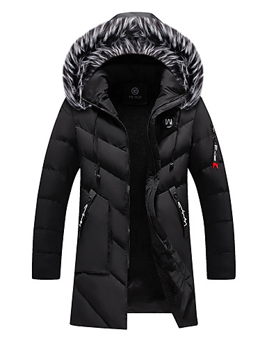 voordelige Heren donsjassen & parka's-Heren Effen Lang Parka, POLY Zwart / Wijn / Leger Groen US32 / UK32 / EU40 / US34 / UK34 / EU42 / US36 / UK36 / EU44