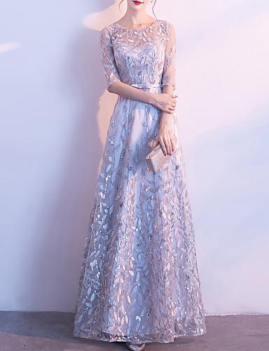 voordelige Maxi-jurken-Dames Elegant A-lijn Jurk - Bloemen, Pailletten Netstof Patchwork Maxi Tropisch blad