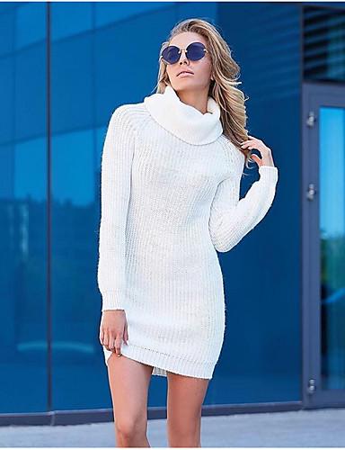 abordables Robes Femme-Femme Mini Moulante Robe Couleur Pleine Blanche S M L Manches Longues