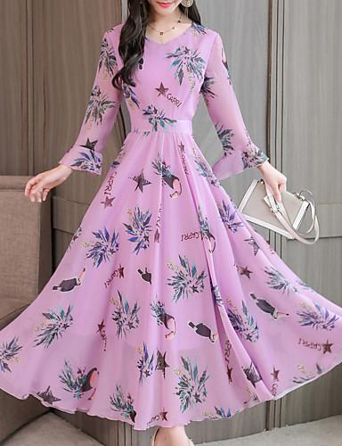 abordables Robes Femme-Femme Elégant Maxi Balançoire Robe - Imprimé, Fleur Lettre Violet Rose Claire Bleu M L XL Manches Longues