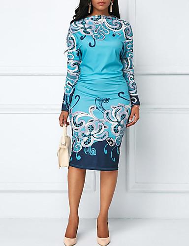 abordables Robes Femme-Femme Rétro Vintage Mi-long Gaine Robe Géométrique Bleu Rouge Vert S M L Manches Longues