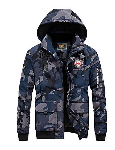 voordelige Heren donsjassen & parka's-Heren Camouflage Kleur Gewatteerd, Polyester Leger Groen / Marine Blauw US32 / UK32 / EU40 / US34 / UK34 / EU42