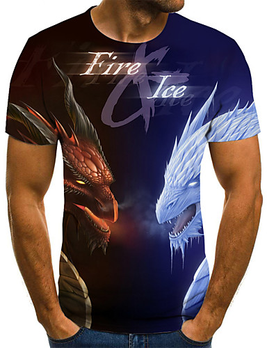 billige Store størrelser-Herre-T-skjorte Herre - Geometrisk / 3D / Dyr, Flettet / Trykt mønster Gatemote Blå