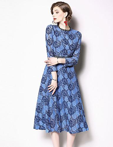 billige Kjoler-Dame Grunnleggende Elegant A-linje Skjede Kjole - Blomstret Fargeblokk, Blonde Lapper Midi