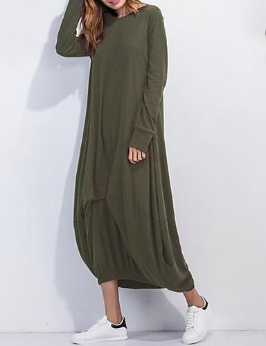 voordelige Maxi-jurken-Dames Street chic Elegant A-lijn Jurk - Effen, Geplooid Maxi