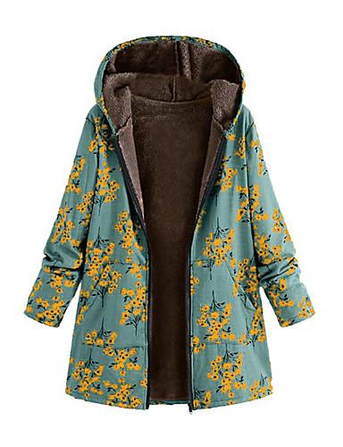 voordelige Dames donsjassen & parka's-Dames Bloemen Grote maten Lang Parka, Acryl / Polyester Wit / Fuchsia / Oranje S / M / L