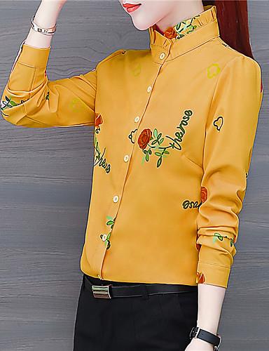 billige Dametopper-Skjorte Dame - Blomstret Chinoiserie Gul