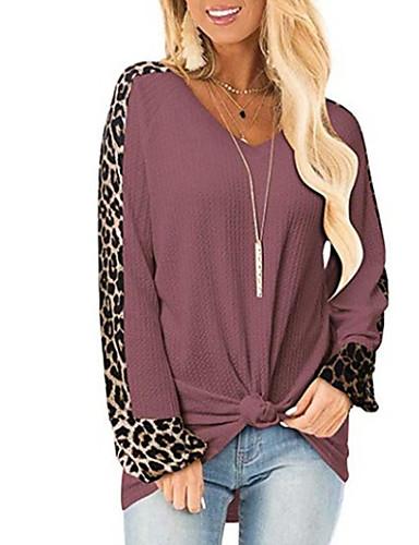 billige Dametopper-T-skjorte Dame - Ensfarget / Leopard Svart