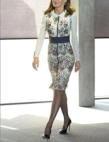 billige Kjoler-Dame Elegant Kroppstett Kjole Kjole - Geometrisk, Trykt mønster Knelang
