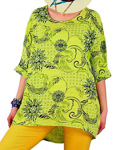 billige Dametopper-T-skjorte Dame - Geometrisk Militærgrønn