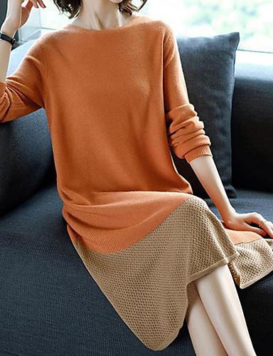billige Dametopper-Dame Fargeblokk Langermet Pullover Oransje M / L / XL
