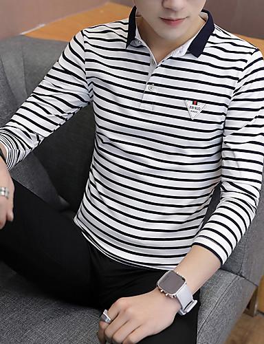 voordelige Heren T-shirts & tanktops-Heren Standaard Patchwork T-shirt Gestreept / Kleurenblok Zwart