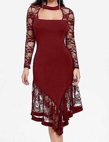 voordelige Grote maten jurken-Dames Bodycon Jurk - Effen Asymmetrisch
