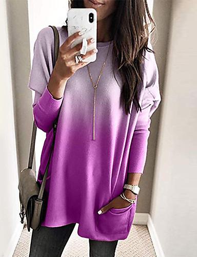 billige Dametopper-T-skjorte Dame - Fargeblokk, Lapper / Trykt mønster Gatemote / Elegant Lyseblå