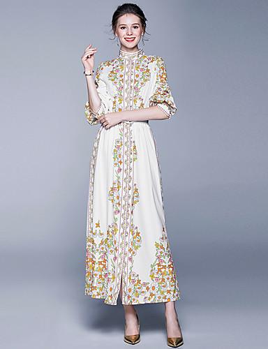 voordelige Maxi-jurken-Dames Vintage Elegant Schede Wijd uitlopend Jurk - Bloemen, Patchwork Print Trekkoord Maxi