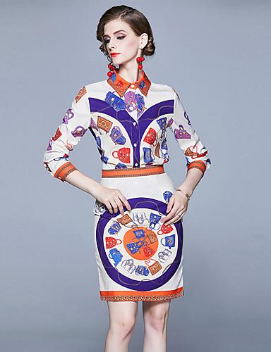 billige Dametopper-Dame Sofistikert Skjorte Skjørt - Trykt mønster, Geometrisk