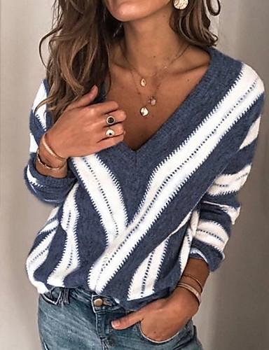 billige Dametopper-Dame Stripet Langermet Pullover, V-hals Vin / Lilla / Blå S / M / L