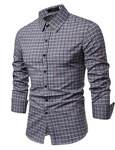 voordelige Herenoverhemden-Heren Standaard Overhemd Ruitjes Licht Blauw