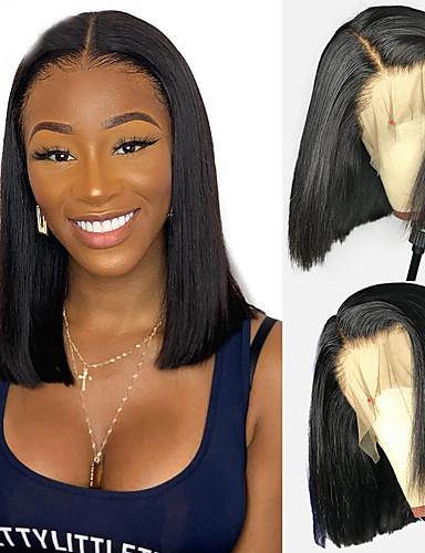 tanie Peruki z włosów ludzkich-Włosy naturalne Zamknięcie 4x13 Peruka Fryzura Bob Krótki Bob Głębokie rozstanie styl Włosy brazylijskie Naturalnie proste Natutalne Peruka 130% Gęstość włosów z Baby Hair Naturalna linia włosów