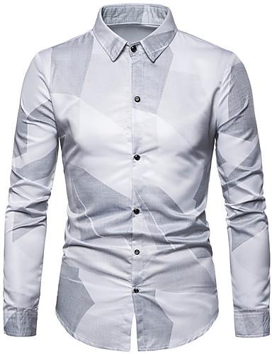 voordelige Herenoverhemden-Heren Overhemd Geometrisch Wit