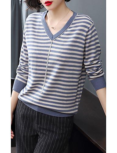 billige Dametopper-Dame Stripet Langermet Pullover, V-hals Svart / Blå En Størrelse