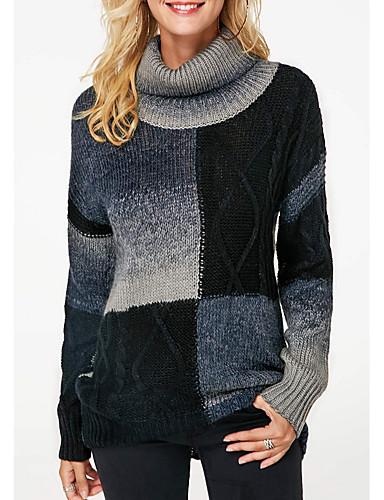 billige Dametopper-Dame Fargeblokk Langermet Pullover, Rullekrage Svart S / M / L