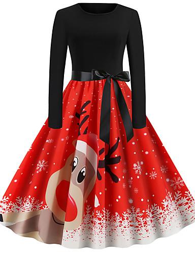 voordelige Kerstwinkel-Dames Standaard A-lijn Jurk - Effen Midi