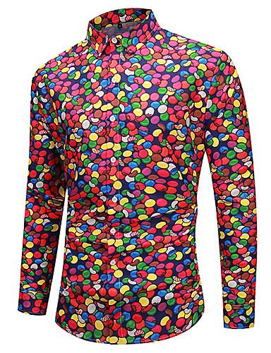 voordelige Herenoverhemden-Heren Standaard Print EU / VS maat - Overhemd 3D / Regenboog Rood / Lange mouw