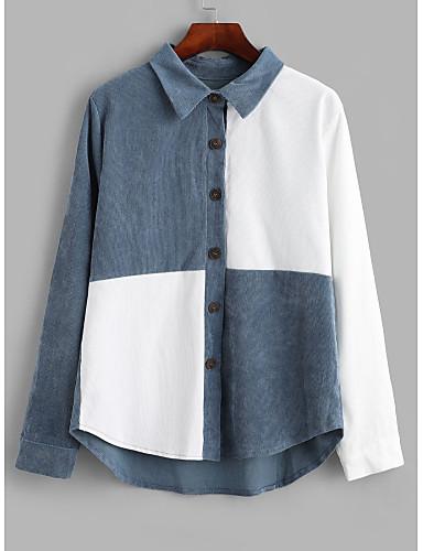 billige Dametopper-Skjorte Dame - Grafisk, Lapper Gatemote BLå & Hvit Hvit