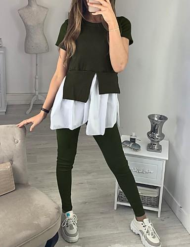 billige Dametopper-Dame Bluse Bukse Ensfarget
