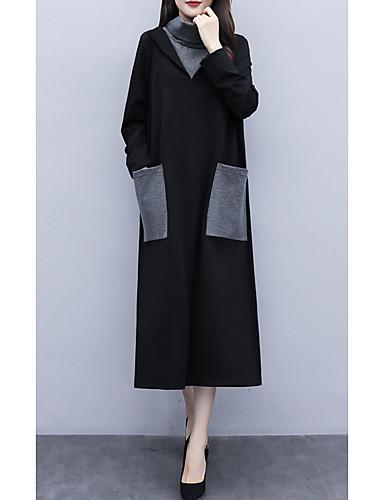 voordelige Grote maten jurken-Dames A-lijn Klein en zwart Jurk - Kleurenblok Midi
