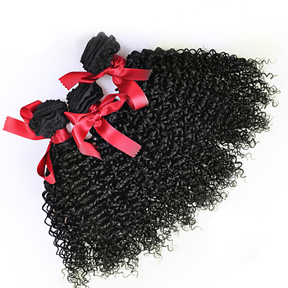 3 bundels Maleisisch haar Gekruld / Curly Weave Echt haar Menselijk haar weeft Menselijk haar weeft Extensions van echt haar