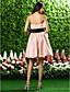 abordables Courtes Robes de Demoiselles d'Honneurs-Trapèze / Robe de Soirée Sans Bretelles Mi-long Organza Robe de Demoiselle d'Honneur  avec Noeud(s) / Drapée / Ceinture / Ruban par LAN TING BRIDE®