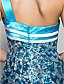 preiswerte Abendkleider-Formeller Abend / Militär Ball Kleid - Blau Mit Paillette - Meerjungfrau-Linie / Mermaid-Stil - bodenlang - 1-SchulterÜbergröße /