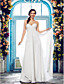 cheap Wedding Dresses-Sheath / Column Spaghetti Strap Floor Length Chiffon Made-To-Measure Wedding Dresses with Beading / Side-Draped by LAN TING BRIDE®