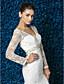 billige Brudekjoler-Havfrue / trompet v-hals sweep / børste tog blonder tyl brudekjole med beading sæk / bånd af lan ting bride®