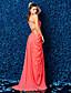 preiswerte Abendkleider-Eng anliegend V-Ausschnitt Pinsel Schleppe Georgette Formeller Abend Kleid mit Perlenstickerei Überkreuzte Rüschen Seitlich drapiert durch