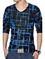 Print-Informeel / Grote maten-Heren-Katoen / Polyester / Netstof-T-shirt-Lange mouw Blauw / Paars / Rood / Wit