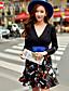 저렴한 여성 드레스-여성의 주름장식 드레스 딥 V 긴 소매 무릎 위 폴리에스테르 / 스판덱스