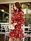baratos Vestidos Femininos-Vestidos (Outros / Poliéster) MULHERES - Casual / Estampado / Fofo Decote em V - Manga Comprida