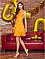 저렴한 칵테일 드레스-A-라인 쥬얼리 무릎 길이 쉬폰 칵테일 파티 / 댄스 파티 / 홀리데이 드레스 와 아플리케 으로 TS Couture®