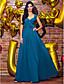 저렴한 프롬 드레스-A-라인 V 넥 발목 길이 조젯 댄스 파티 / 포멀 이브닝 드레스 와 주름 으로 TS Couture®