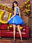 Balo Abiyesi Taşlı Yaka Kısa / Mini Tül Kokteyl Partisi Elbise ile Aplik Düğme tarafından TS Couture®